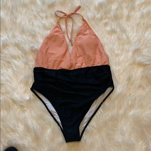 New cupshe pink and black bathing suit.